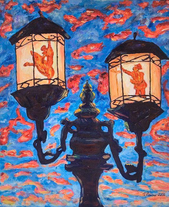 Влюбленные фонари(старый фонарь, любовь, вожделение недоступного, мужчина на коленях, женщина танцует, отражение, закат, облака, синее небо, антиквариат, фантазия)